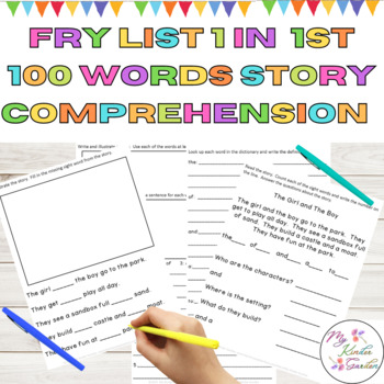 Sight Word Work Story Reading Comprehension Fry List 1 in 1st 100 Words