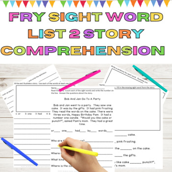 Sight Word Story Comprehension Fry High Frequency Words List 2 in 1st 100 Words