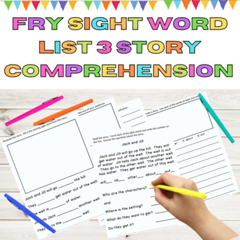 Sight Word Story Comprehension Fry High Frequency Words List 3 in 1st 100 Words
