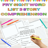 Fry Sight Word Reading Comprehension Fry List 3 in 1st 100 Words