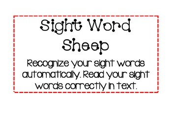 Sight Word Strategy Card