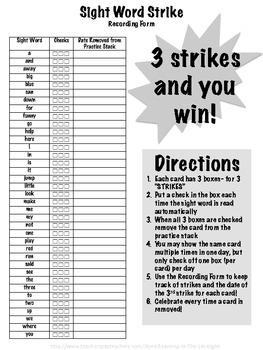 Sight Word Strike! (Level 1- PrePrimer): a Sight Word Practice Game