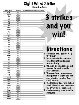 Sight Word Strike! (Level 3- Grade 1): a Sight Word Practice Game