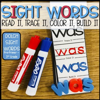 Sight Word Strips: Read it, Trace it, Color it, Build it!