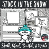 Sight Word Stuck in the Snow Black and White Activity