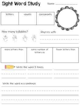 Sight Word Study