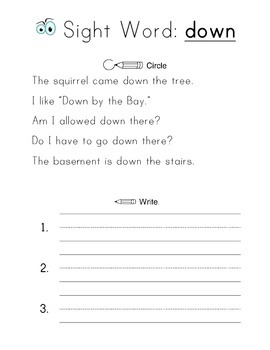 Sight Word Study, Set 1   50 Worksheets