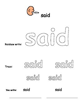 Sight Word Success for Special Learners Free Sample (Dolch Word: said)Boardmaker