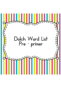 Sight Word Sudoku (Dolch Word List - Pre-Primer)