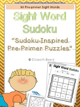 Sight Word Sudoku-Inspired Pre-primer Sight Word Puzzles