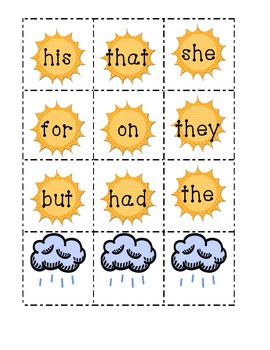 {FREE} Sight Word Sun Game {List 1}