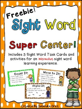 Sight Word Super Center-Freebie!