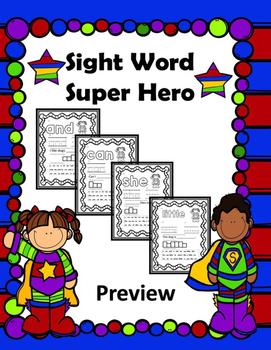 Sight Word Super Hero Freebie