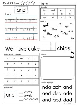 Sight Word Super Pack Fry List 100 : List #1 (1-10) (K-1st Grade Edition)