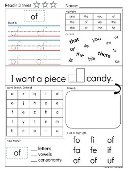Sight Word Super Pack Fry List 100 : List #1 (1-25) (K- 1st Grade Edition)