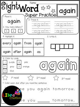 Sight Word Super Practice 1st Grade