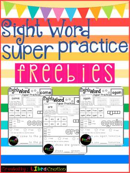 Sight Word Super Practice Freebies