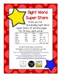 Sight Word Super Stars for Kindergarten
