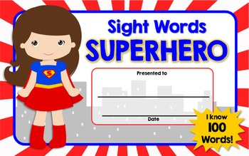 Sight Words Superhero!  Everything You Need to Motivate and Reward Students!