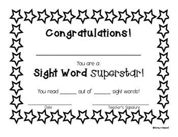 Sight Word Superstar Certificate