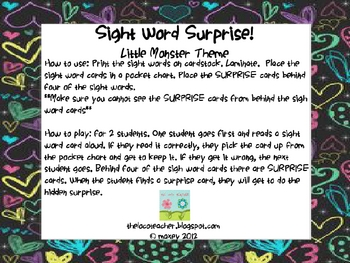 Sight Word Surprise - All Dolch Words - Monsters