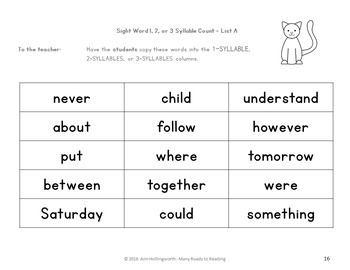 Sight Word Syllable Count: Grades K-2