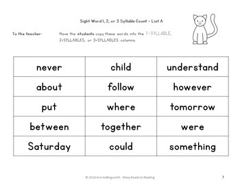 Sight Word Syllable Count K-2 FREEBIE