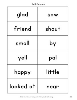 Sight Word Synonyms: Grades K-2