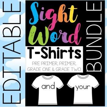 Sight Word T-Shirts BUNDLE Editable