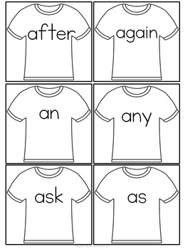 Sight Word T-Shirts First Grade