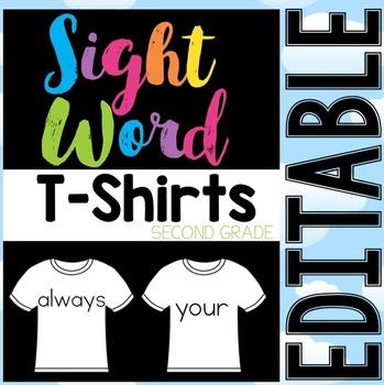 Sight Word T-Shirts Second Grade