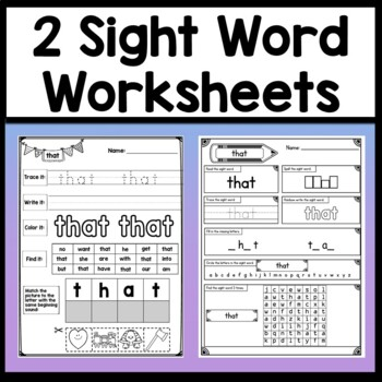 Sight Word THAT {2 Sight Word Books and 4 Worksheets!}