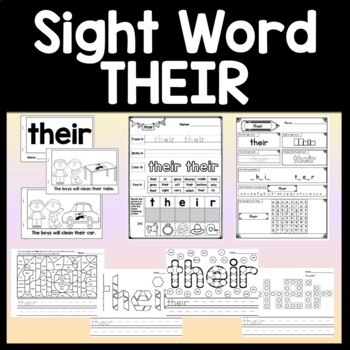 Sight Word THEIR {2 Sight Word Books and 4 Worksheets!}