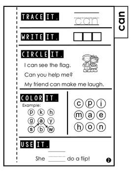Sight Word Practice Tab Book Pre Primer 2