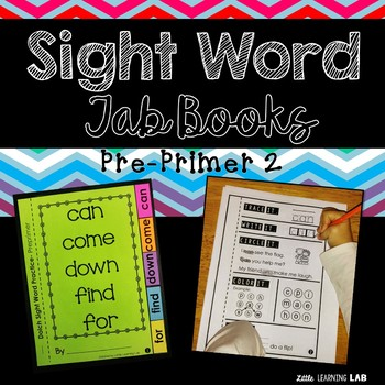 Sight Word Practice | Dolch Pre Primer 2 | Tab Book