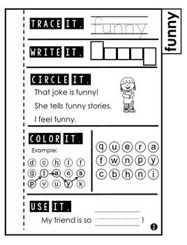 Sight Word Practice Tab Book Pre Primer 3