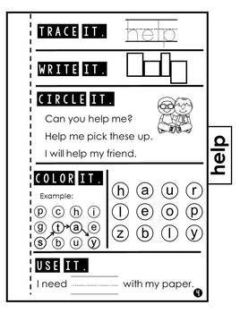 Sight Word Practice | Dolch Pre Primer 3 | Tab Book
