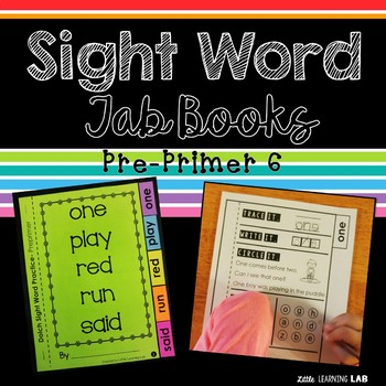 Sight Word Practice | Dolch Pre Primer 6 | Tab Book
