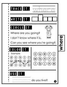 Sight Word Practice | Dolch Pre Primer 8 | Tab Book