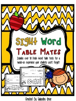 Sight Word Table Mates