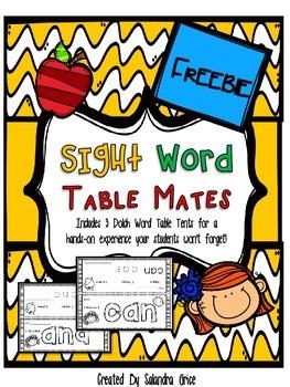 Sight Word Table Mates-Freebie!