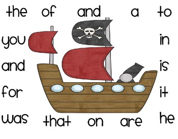 Sight Word Table Names-Pirate Style