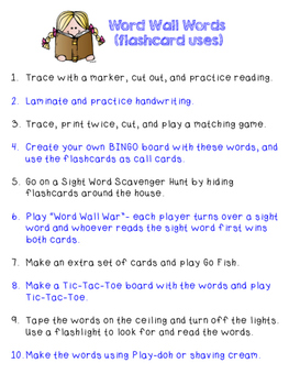 Sight Word Take-Home Packet
