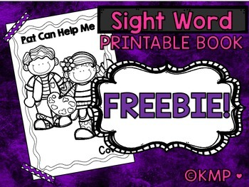 """Sight Word Take Home Practice Book-""""Pat Can Help Me"""" EMERGENT READER {Freebie}"""