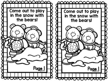 """Sight Word Take Home Practice Book - """"Snow Bears"""" {EMERGENT READER}"""