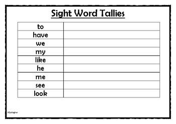 Sight Word Tally Sheet
