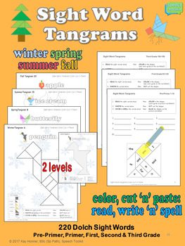 SPRING Sight Word Tangrams *Color Cut 'n' Paste* Incl SUMMER FALL WINTER