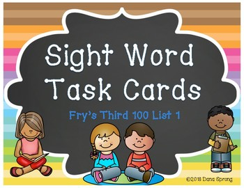 Sight Word Task Cards Fry Third 100 ~ List 1