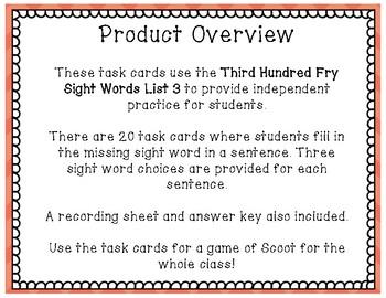 Sight Word Task Cards Fry Third 100 ~ List 3