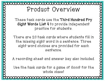 Sight Word Task Cards Fry Third 100 ~ List 4